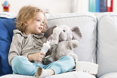 Me and my little elephant are ill... Royalty Free Stock Photos