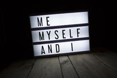 Me myself and i. `Me myself and i` text in lightbox Stock Photography