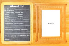 About Me myself phrase Concept text in blackboard with frame room for photo or text Royalty Free Stock Photos