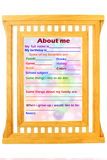 About Me myself phrase Concept text in wooden frame Royalty Free Stock Image