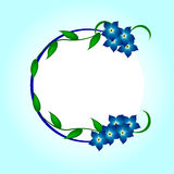 Me-nots, frame. Sprig of blue forget-me in the frame Royalty Free Stock Images