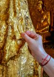 Gold leaves offerings at shwedagon royalty free stock photos