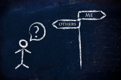 Me or others, which is the priority?. Metaphor humour design on blackboard, me vs others Stock Image