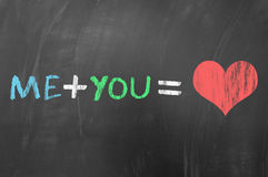 Me plus you equals love Royalty Free Stock Photos