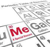 Me Special Element Periodic Table Unique Different Confidence. Me a Special Element words on a periodic table to illustrate confidence and determination with Stock Photography