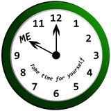 Me Time. A clock to remind you to take time out of the day for yourself Stock Image