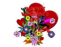 From me to you. Valentines day illustration in 3d on white Royalty Free Stock Image