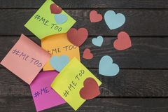 Me Too hashtag on colorful note papers, anti sexual harassment social media campaign stock photos
