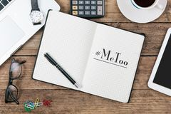 Me Too Hashtag in diary note book. MeToo hashtag in note book or diary as part of anti sexual harrassment and assault social media internet campaign protests Stock Images