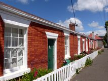 Mr Watson`s cottages Hobart Tasmania. Mr Watson`s cottages at Battery point Hobart Tasmania. This row of cottages was built in 1858 for shipyard workers and are Royalty Free Stock Photography
