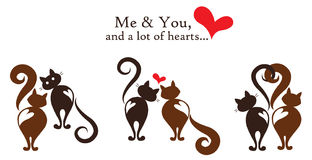Me and You - Happy Valentines Day gift card. Simple cute and stylish vector illustration of two cats expressing love emotions Royalty Free Stock Images