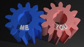 Me and You mating gears Stock Images