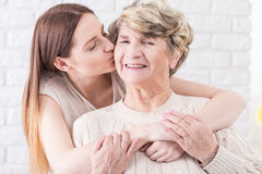 For me you're the most important person in the world. Shot of a young women hugging her grandma Royalty Free Stock Photo
