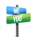 Me, you road sign illustration design Royalty Free Stock Images
