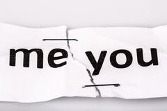 Me and you on torn and stapled old paper - love concept Royalty Free Stock Image