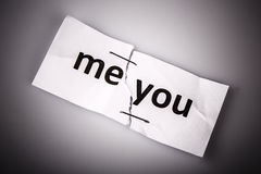 me you words written on torn and stapled paper Stock Photography