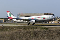 MEA Airbus 330 landing. Luqa, Malta - 12 July 2016: Middle East Airlines (MEA) Airbus A330-243 [OD-MED] landing runway 13 Stock Photos