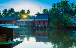 Mea Klong River in Thailand. Life Style beside the river Stock Images