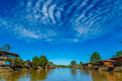 Mea Klong River in Thailand. Life Style beside the river Stock Photos