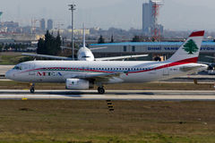 MEA Middle East Airlines Airbus A320. Plane at Istanbul stock photo