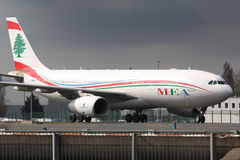 A330 MEA. PARIS - MARCH 29: MEA Airbus A330 taxis to take off on March 29, 2010 in Paris, France. MEA is the national flag-carrier airline of Lebanon, with its Royalty Free Stock Photo