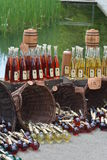 Mead / Honey-Wine At A Medieval Market. Beautiful display of various sorts of mead at a medieval market in Germany. Mead is seen as ancestor of fermeted drinks Royalty Free Stock Image