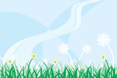 Meadow. Stylized daisy meadow background illustration Royalty Free Stock Photo