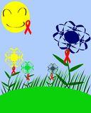 Colorful meadow with HIV ribbon. Stylized meadow in which flowers and sun has the symbol of AIDS prevention Royalty Free Stock Photography