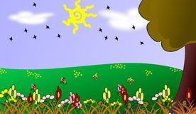 Colorful Meadow cartoon with flowers Stock Photos