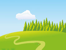 Meadow. Vector meadow. Footpath and forest vector illustration