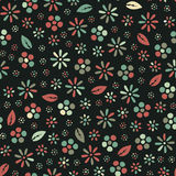 Meadow. Abstract vector pattern, wallpaper with dark background, multiple flowers and leafs Stock Illustration