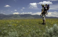 In the Meadow. Father and daughter hiking in a meadow in Yellowstone National Park stock photo