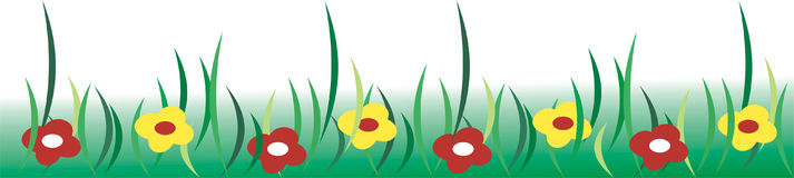 Meadow. With yellow and red flowers Vector Illustration