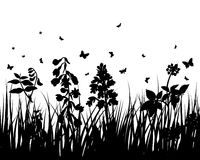 Meadow. Vector grass silhouettes backgrounds with insects vector illustration