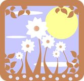 Stylized colorful meadow with leaves Royalty Free Stock Photography