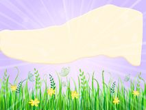 Meadow with Advertisment Flying Poster at Sky. Summer Meadow Landscape with Advertisment Flying Poster at Sky. Vector Illustration Stock Images