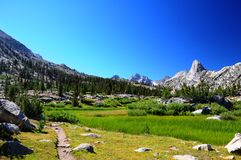 Meadow against mountain wall Royalty Free Stock Images