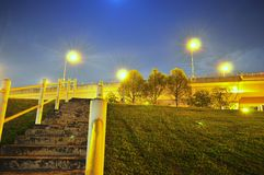 Meadow with ascending stairway and trees by night Stock Photos