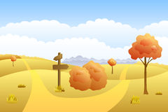 Meadow autumn landscape day road way mark illustration Royalty Free Stock Image
