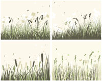 4 Meadow Backgrounds. Set of 4 Meadow Backgrounds With Flowers and Butterflies stock illustration