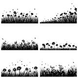 6 Meadow Backgrounds. Set of 6 Meadow Backgrounds With Flowers and Butterflies vector illustration