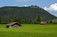 Meadow in Bavaria Germany with farm buildings Stock Images