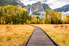 Meadow with boardwalk in Yosemite National Park Valley at autumn Royalty Free Stock Photography
