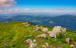 Meadow with boulders in Carpathian mountains in summer Stock Images