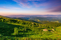 Meadow with boulders in Carpathian mountains in summer Stock Photos