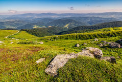 Meadow with boulders in Carpathian mountains in summer Royalty Free Stock Photography