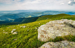 Meadow with boulders in Carpathian mountains in summer Royalty Free Stock Images