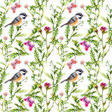 Meadow with butterflies and birds. Seamless watercolor floral pattern. Royalty Free Stock Photo