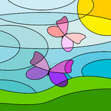 Meadow and butterflies. Royalty Free Stock Images
