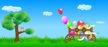 Meadow cart and owl Royalty Free Stock Images